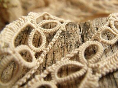 Antique VICTORIAN Vtg HAND Tatting lace Trim Cream - Bridal Dolls Bear Per Yard