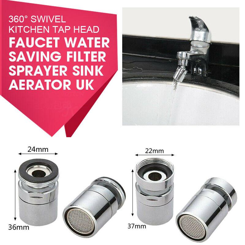 360° Swivel Kitchen Tap Head Faucet Water Saving Filter Sprayer Sink Aerator..