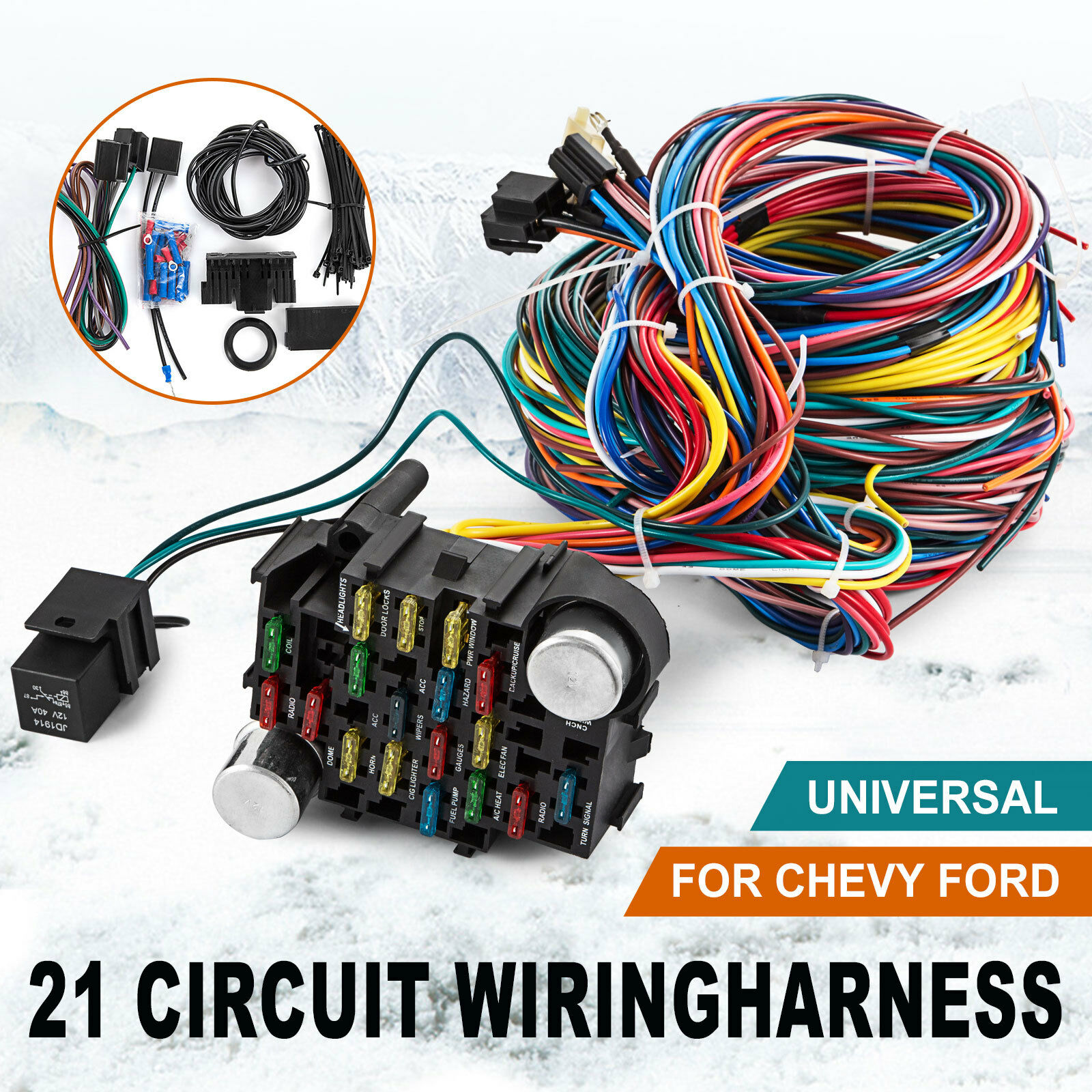 21 Circuit Wiring Harness Universal Mopar Wire For Chevy Ford Hotrods on universal tools, universal car covers, universal fuel tanks, universal electronics,