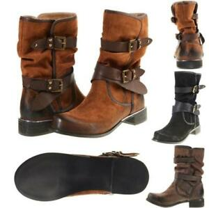 Womens Retro Casual Buckle Biker Slouch Ankle Boots Low Chunky Heel Punk Shoes