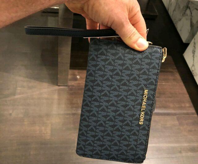 Michael Kors Jet Set Travel Double Zip Wristlet Wallet MK Logo Admiral