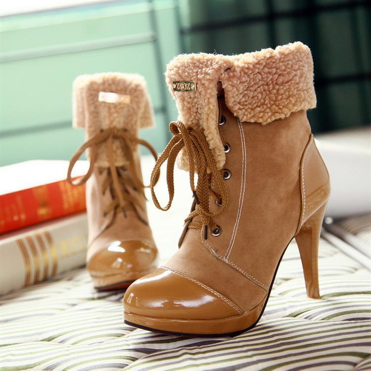 Stivaletti stivali scarpe donna tacco 10 cm moda simil pelle caldi comodi  9038   Vendita    Scolaro/Signora Scarpa