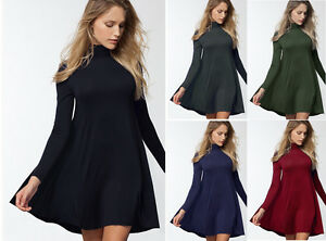 Mock Turtleneck Swing Sweater Dress Long Sleeve Casual Tunic Mini ...