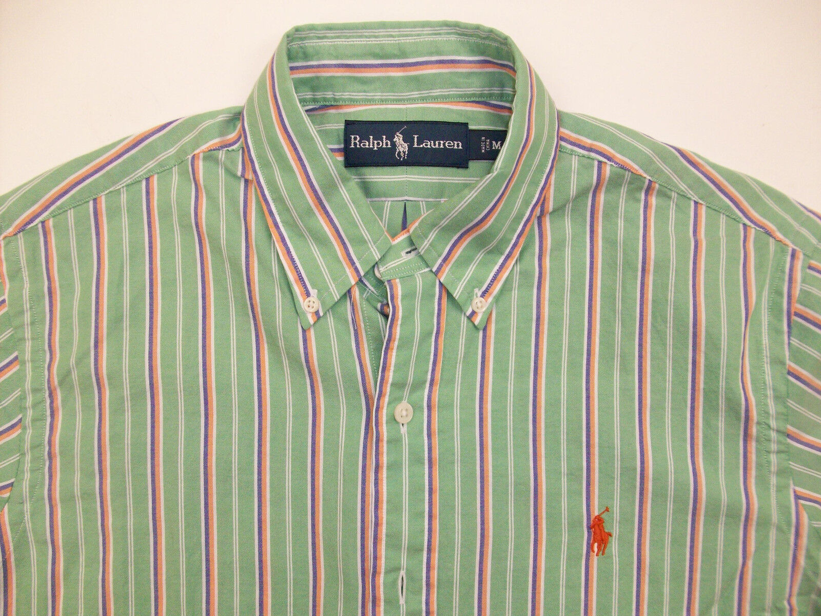 Polo Ralph Lauren Striped Lightweight Cotton Oxford Shirt  Green w  Pony NWT