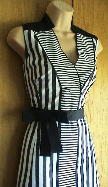 New Karen Millen schwarz & Weiß stripe shirt day evening dress