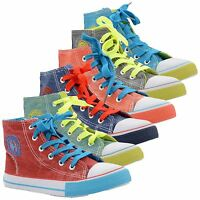 New Kids Trainers Skate Canvas Pumps Shoes Boys Hi Tops Ankle Boots UK Sizes