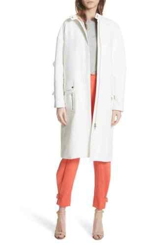 Cotton White Coat Tracy Reese 190238196627 Ruffle Nwt Sleeve Large tzwXTqfU