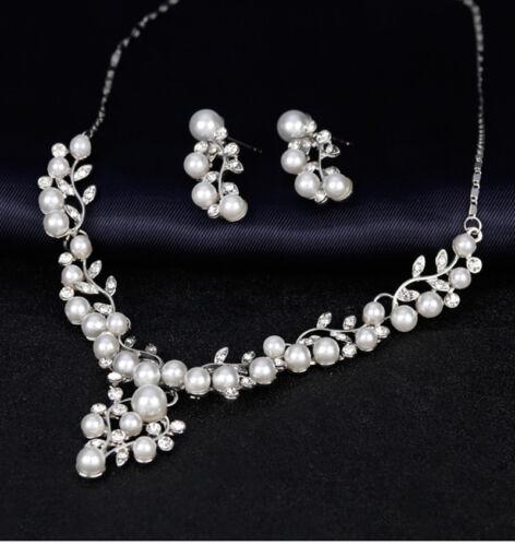 Lujo schmuckset collar aretes metal perlas pedrería boda novia blanco