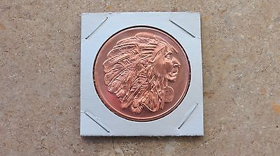 """Rich In Poetic And Pictorial Splendor 1 Advp Oz 2 Gs Mint's """"american Indian"""" Copper Round Series .999 Fine Copper"""