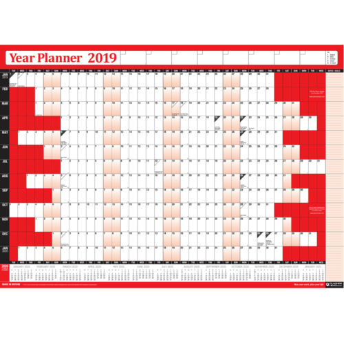 PACK OF 2-2019 LAMINATED Wall Calendar Year Yearly Planner Pen Sticker Set