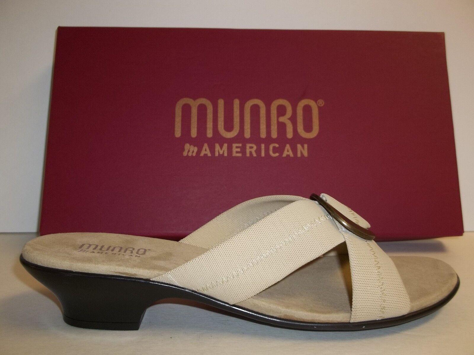 Munro American Größe 7 M Jamie Beige Stretch Fabric Sandales NEU Damenschuhe Schuhes