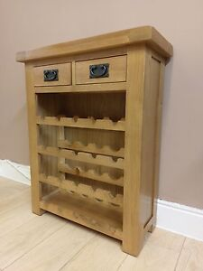 Image Is Loading Kingsford Oak Small Wine Cabinet Rack Solid Wood