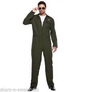22c7b19ab2 Adult Mens Aviator Army Military Pilot Jumpsuit Fancy Dress Costume ...
