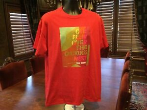 One Flew Over The Couckoos Nest Mens T Shirt. Red. Size XL
