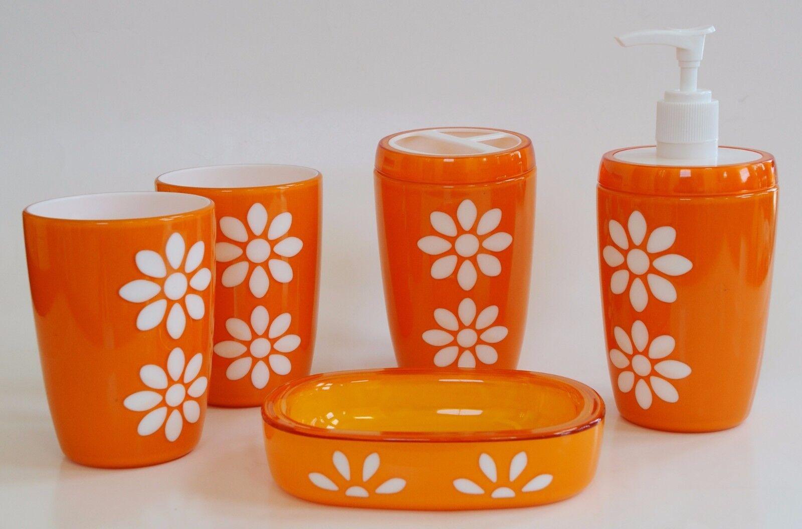 Neu 5 Teile Set Orange + Weiße Blaume Seifenspender + Schale+2 Becher+Zahnbürste+