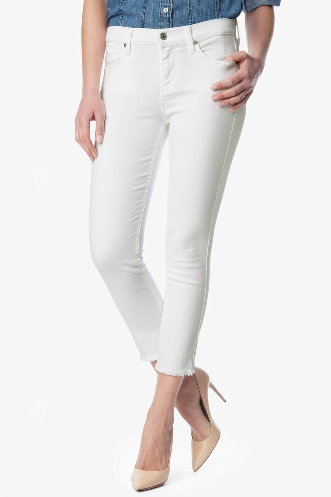 7 For All Mankind Runway White MODERN STRAIGHT With Raw Hem Jeans Size 25