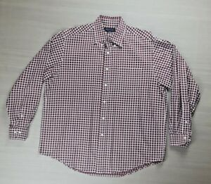 Brooks-Brothers-Woven-in-Italy-Mens-Large-Long-Sleeve-Button-Up-Shirt-Red-Plaid