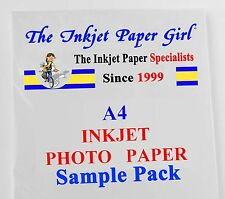 A4 260g Resin Coated Professional Glossy Photo Inkjet 2 sheet SAMPLE PACK
