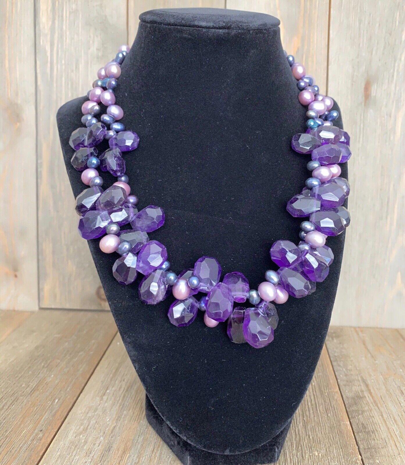 Necklace Amethyst Pearls Cluster Diana Venezia Ra… - image 2