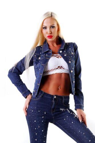 11528 Jeans Da Donna Giacca Giacca Jeans breve Giacca Denim Stretch Perle applicazione