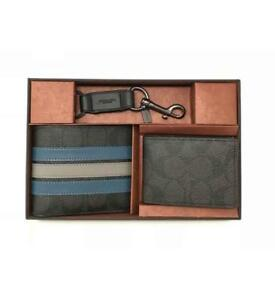 6ba1a713647f7 COACH Mens  225 Compact ID Black Blue Varsity Leather Wallet Gift ...