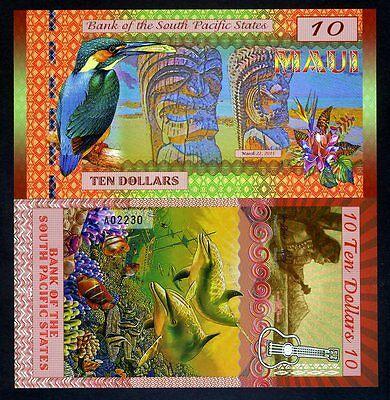 Polymer Maui South Pacific States UNC 2015 $10 Hawaii, USA