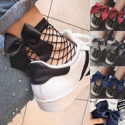 Women Ladies Bow Soft Black Fishnet Mesh Lace Ruffle Socks Stockings Short Ankle