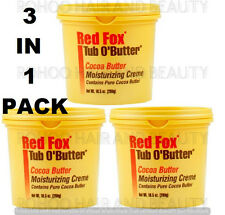 3 X Red Fox Tub O' Butter Cocoa Moisturising Cream 298g Lotion EACH