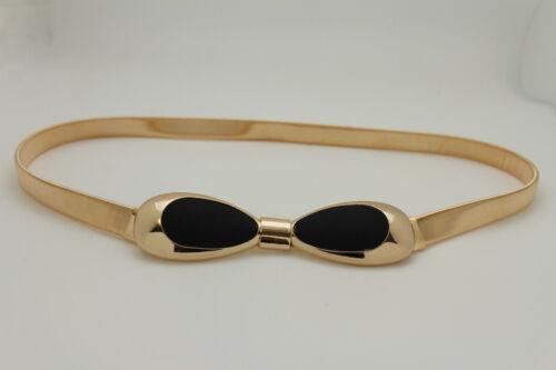 New Women Fashion Thin Gold Metal Bow Fashion Belt Hip Waist Elastic Black White