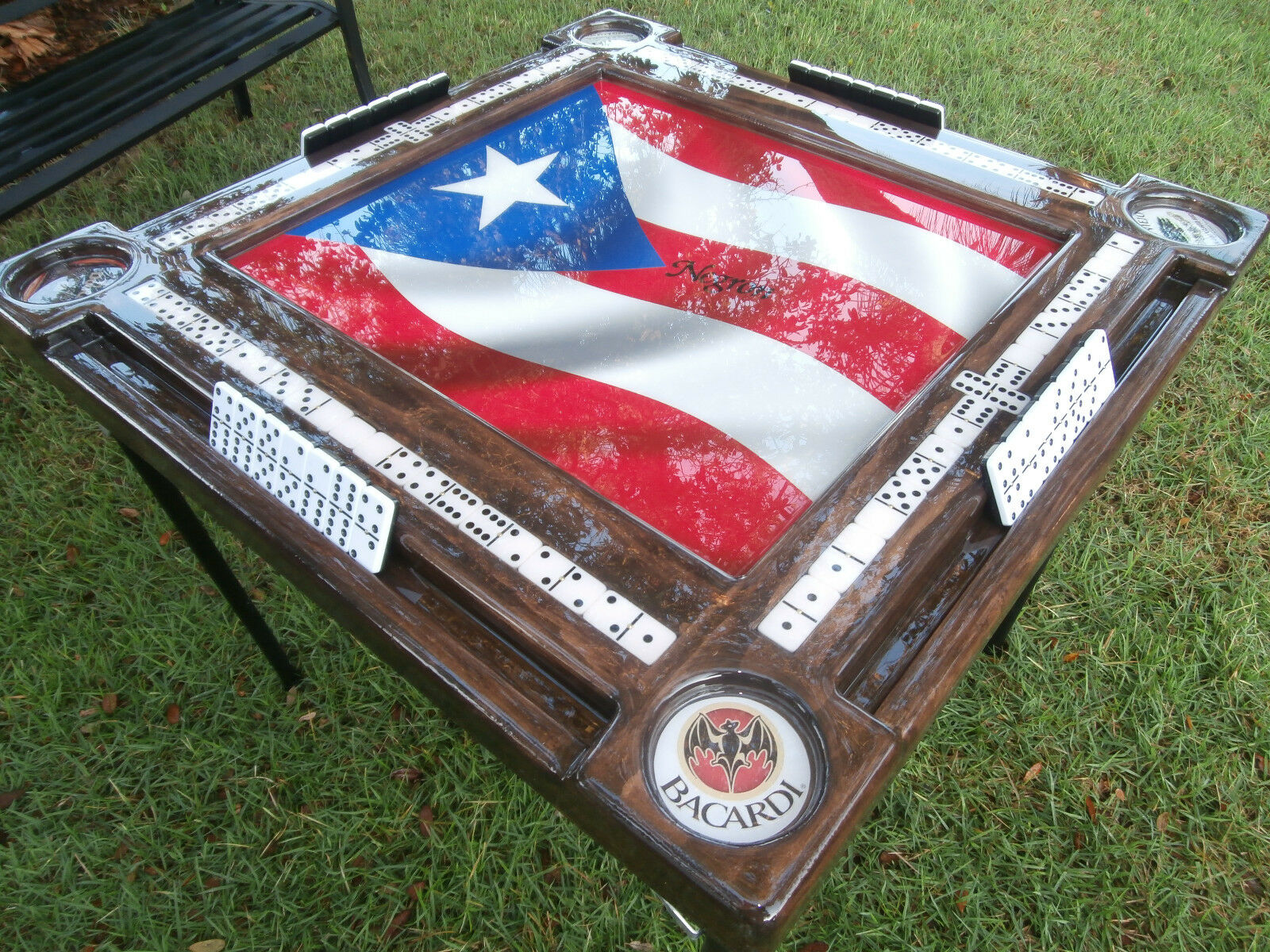 Puerto Rican Domino Table with P.R. Rum Cup Holders by Domino Tables by Art