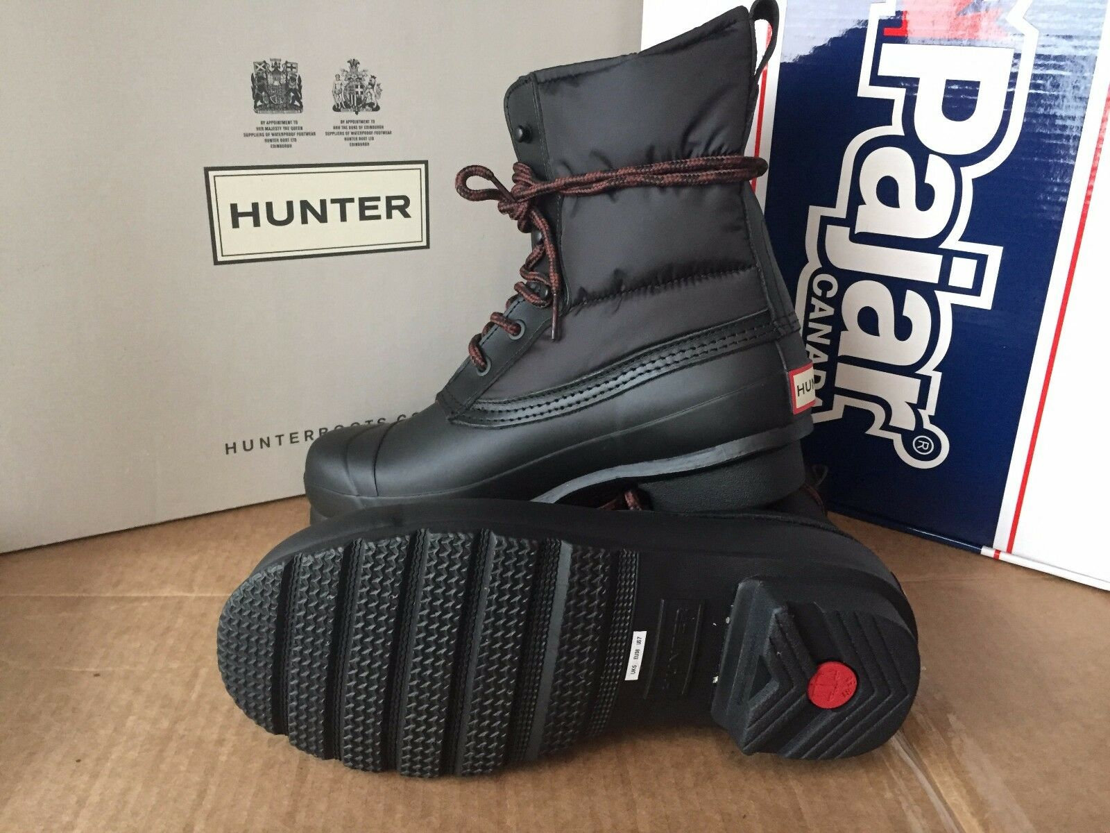 Hunter Women's Quilted Black Insulated Lace-Up Winter Waterproof Boot ( 7)