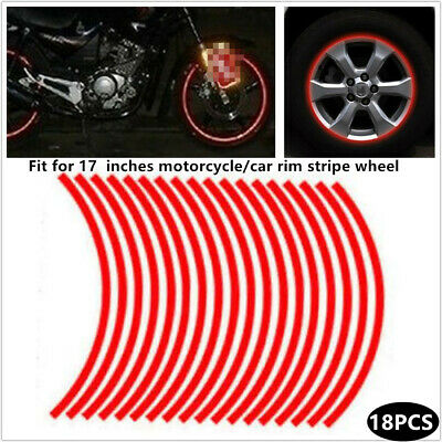 Strips Reflective Car Motorcycle Rim Stripe 17/'/' Wheel Tape Stickers All Red