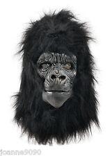 De Lujo Gorila toda la cabeza Piel De Látex Goma Mono Fancy Dress Costume Máscara BN