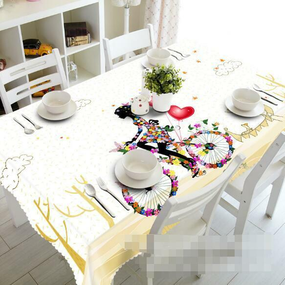 3D Cute Girl 4 Tablecloth Table Cover Cloth Birthday Party Event AJ WALLPAPER AU