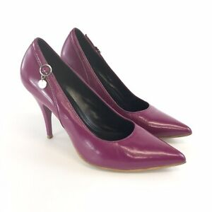 Karen-Millen-Size-39-UK6-Ladies-Purple-Leather-Slip-On-Court-High-Heels-Shoes