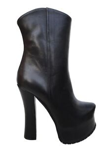 Couture Cq Stiefel 44 To Nero Black Stivali Boots Leather Made Platform Order Rw7qHwd
