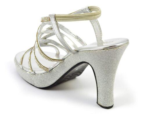 Strap Party Sizeshoe Inch Sandals High Wedge Platform Diamante Silver Heel Womens Shiny wqzcAURZ