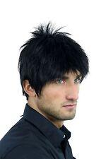 Perücke Herrenperücke Männer kurz jungenhaft gestylte Strähnen schwarz WL-3058-1