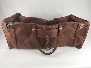 Weekend Chokor Sports Gym Leather Brown Travel Bag Real Duffle Luggage 28  ... c76da9d96b67a