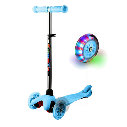 Kids Adjustable Height Kick Scooter with LED Light Up Wheels 3Wheels For Age 2-8