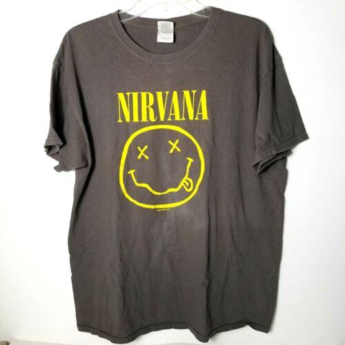 Vtg Nirvana 1992 Grey Smiley face T-shirt Size Lar