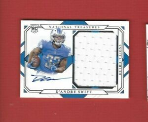 2020 PANINI NATIONAL TREASURES D'ANDRE SWIFT ( LIONS ) RC AUTO PATCH CARD /99