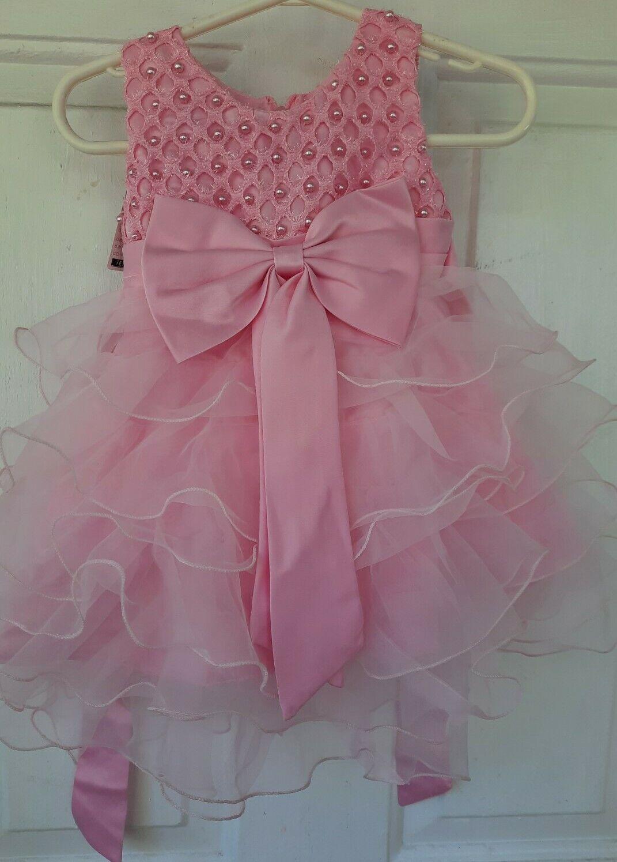 iefiel Flower Girl Baby Princess Girls Birthday Party Dress Wedding Pink Dress