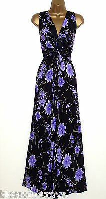 Long Black//Lilac Floral Print Grecian Knot Panel Maxi Evening Dress Day//Evening