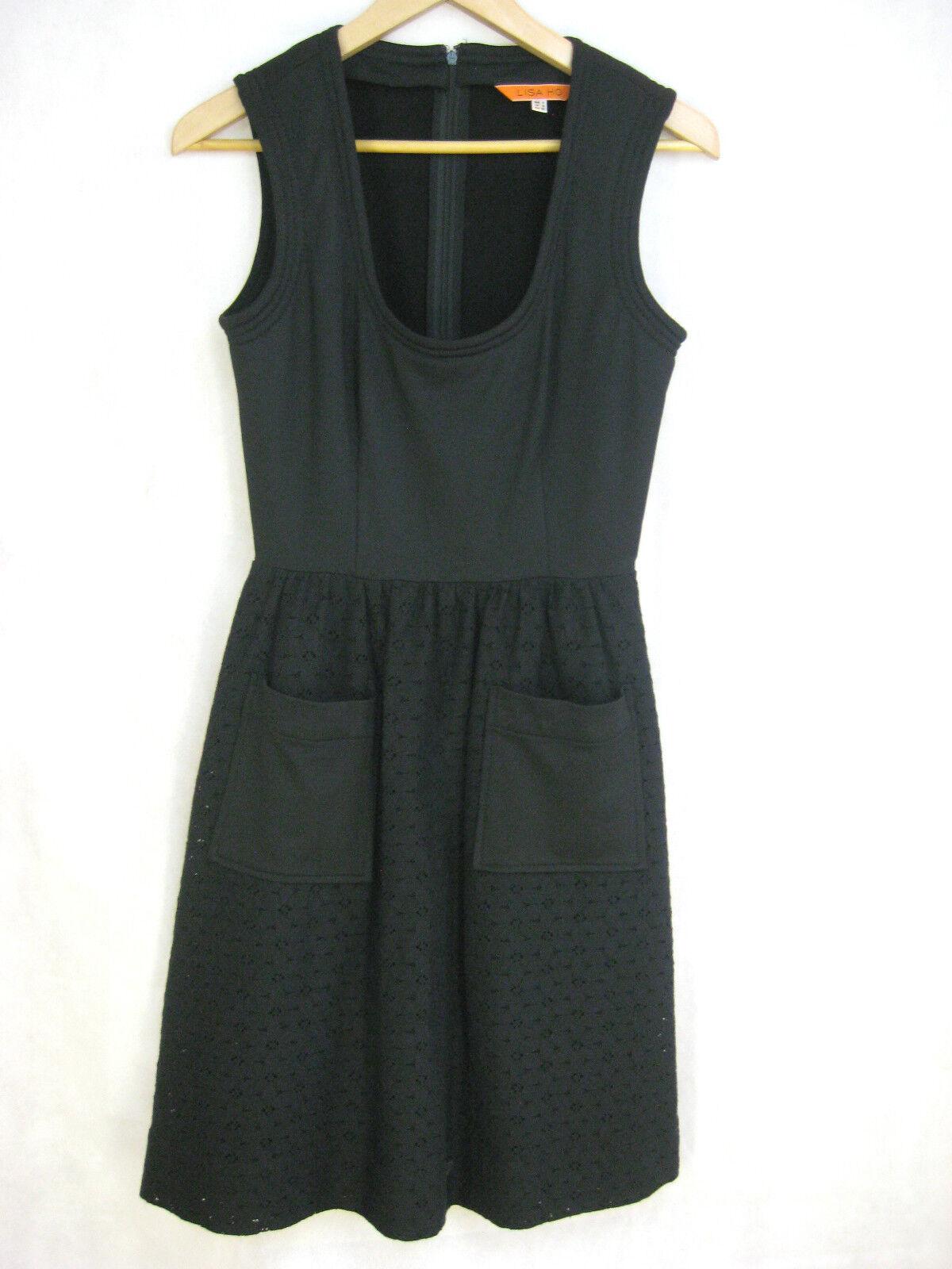 Lisa Ho Größe 6 8 schwarz cocktail party designer dress