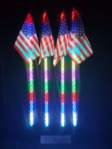 AMERICAN DREAM WRAPPED LED WHIPS-BY DIRECT IGNITER 6/' PAIR 316 MODES USA COMPANY