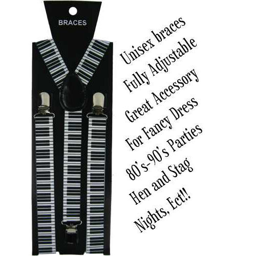 UNISEX VARIOUS DESIGN FULLY ADJUSTABLE ELASTICATED SUSPENDER BRACES METAL CLASP