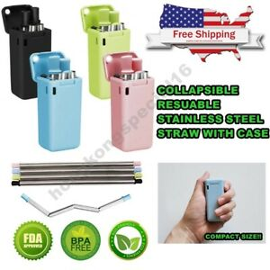 Collapsible-Reusable-Stainless-Steel-Metal-Drinking-Straws-FREE-Cleaning-Brush