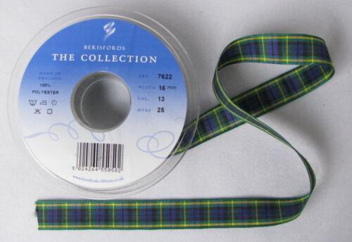 Gordon Tartan Ribbon cut lengths and 25m reels various widths