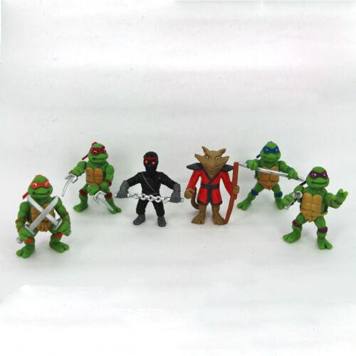 6 PCS Teenage Mutant Ninja Turtles Splinter Shredder Action Figure Gift Toys US
